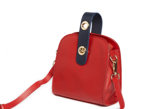 S1069 Red Turn-Lock Shoulder Bag
