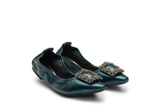 3230-3A Dark Green Crystal Buckle Foldable Flats