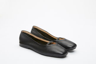366-P6 Black Square-Toe Ballet Flats