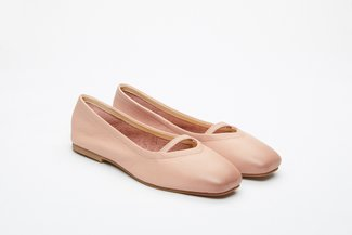 366-P6 Pink Square-Toe Ballet Flats