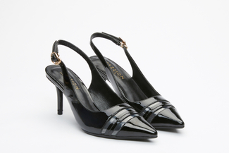 603-1 Black Slingback Pumps