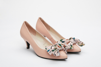 70965-10 Pink Pointy Toe Bow Pumps