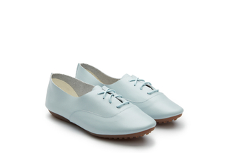 801-13 Powder Blue Lace Up Flats