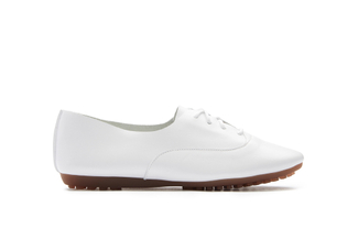 801-13 White Lace Up Flats
