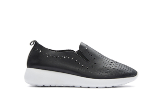 8226-1 Black Laser Cut Slip On Sneakers