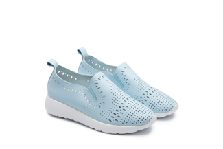 8226-1 Blue Laser Cut Slip On Sneakers