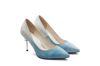 B301-B1 Blue Iridescent Heels with Metal Stiletto