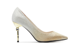 B301-B1 Gold Iridescent Heels with Metal Stiletto