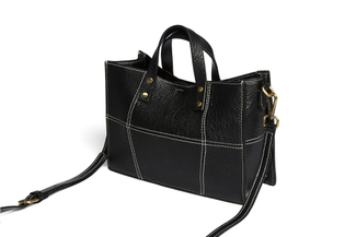 1081 Black Mini Leather Tote Bag