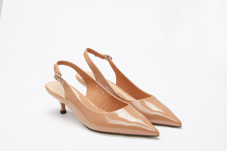 1827-13 Almond Slingback Kitten Pumps