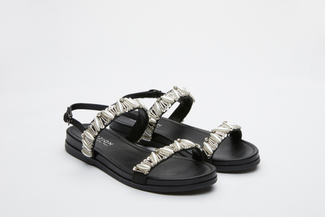 3392-4 Black Crystal Embellished Strappy Sandals