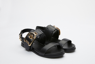 3392-7 Black Chunky Statement Sandals