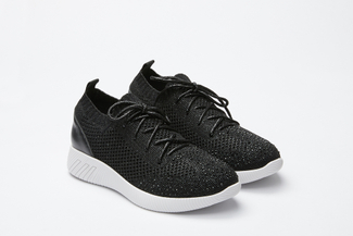 345-18 Black Knit Lace Up Sneakers