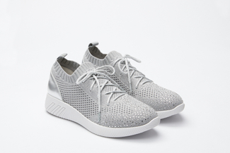345-18 Grey Knit Lace Up Sneakers