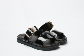 6179-1 Black Statement Chunky Slides
