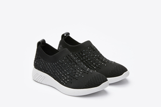 46S345-15XD Black Crystal Sock Sneakers