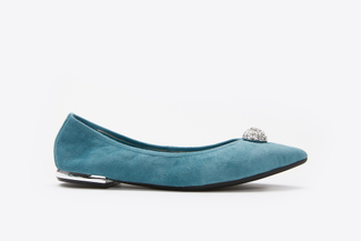 3660-6 Light Blue Suede Pavé Flats
