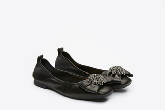 5807-1 Black Sparkly Bow Flats