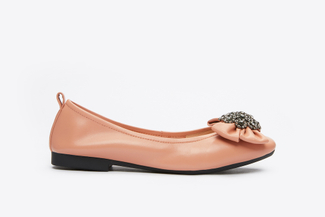 5807-1 Pink Sparkly Bow Flats