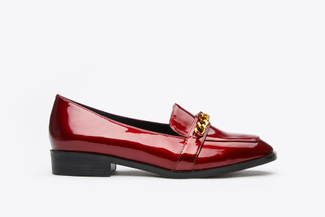 179-68A Wine Metal Buckle Sleek Classic Loafers