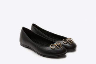 1801-1 Black Dainty Bow Flats