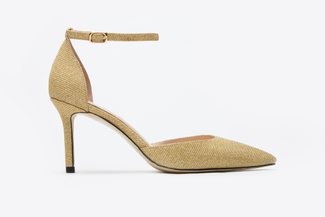 1801-66 Light Gold Strappy V-Cut Heels