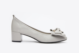 1838-1 Grey Buckle Bow Pumps