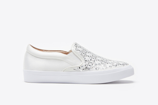 1886-2 White Rhinestone Sneakers