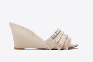 3041-2 Almond Fringe Wedge Sandals