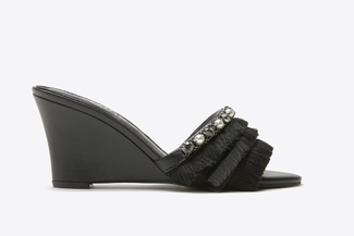 3041-2 Black Fringe Wedge Sandals