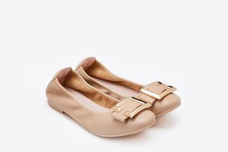 379-3A Almond C-Buckle Square-Toe Flats