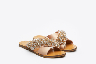 444-51 Almond Satin Jewelled Slide Sandals