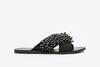 444-51 Black Satin Jewelled Slide Sandals