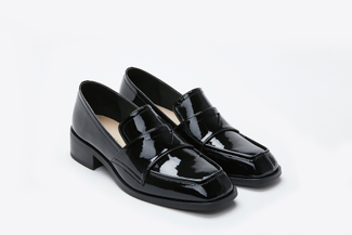7412-3 Black Chunky Heeled Loafers