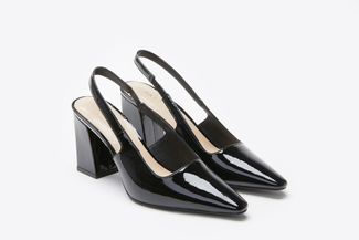 774-6 Black Low-Cut Topline Open Back Heels
