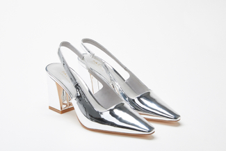 774-6 Silver Low-Cut Topline Open Back Heels