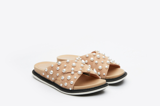 8068-1 Almond Pearl Embellished Slide Sandals