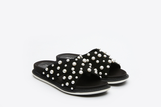 8068-1 Black Pearl Embellished Slide Sandals