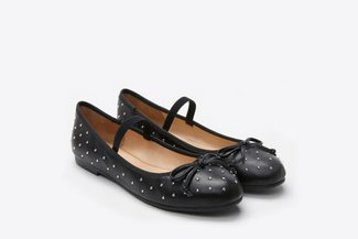 938-47 Black Studded Ballerinas