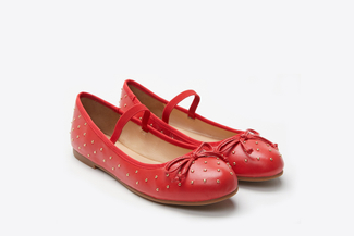938-47 Red Studded Ballerinas