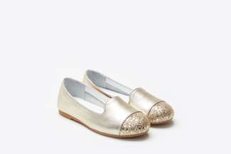 BB1620-1721 Kids Gold Glitter Toe Flats
