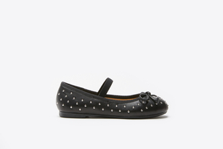 BB1620-938 Kids Black Studded Ballerinas
