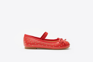 BB1620-938 Kids Red Studded Ballerinas