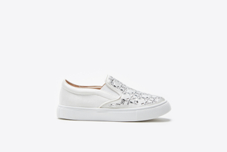 BB1886-2 Kids White Rhinestone Sneakers
