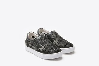 BB8626-13 Kids Black Floral Mesh Sneakers