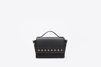 SB8138 Black Studded Satchel Bag