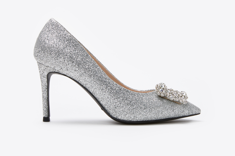 6162 16a Silver Sparkly Embellished Front Heels Pazzion