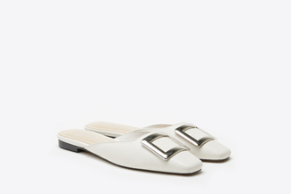 0535-201 Beige Buckled Square-Toe Mules