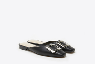 0535-201 Black Buckled Square-Toe Mules