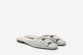 0535-201 Grey Buckled Square-Toe Mules